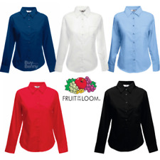 FRUIT OF THE LOOM POPELINE CAMICIA MANICA LUNGA TASCA colletto LAVORO D'UFFICIO