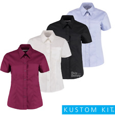 KIT Kustom DONNA MANICA CORTA CAMICIA DI OXFORD colletto TASCA SMART FIT