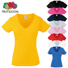 Fruit of the Loom Women's Short Sleeve Valueweight V-Neck T-Shirt Ladies Fit