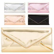 Ladies Metallic Patent Clutch Bag Shiny Cocktail Party Bag Handbag Purse KL2109