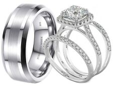 New His And Hers Tungsten /925 Sterling Silver Wedding Engagement Ring Band Set