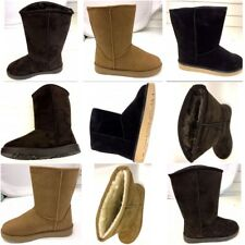 LADIES WOMENS MID CALF WARM WINTER FUR LINED SNUGG HUG GRIP SOLE BOOTS SIZE 3-8