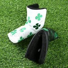1PC White/Black PU Golf Clubs Putter Head Lucky Cover Four Leaf Clover Headcover