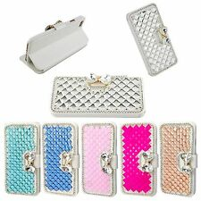 Premium Luxury Bling Bowknot Crystal Diamond Wallet Flip Case For iPhone 8