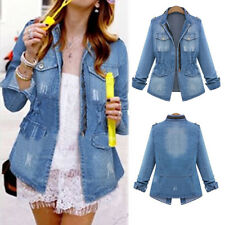 donna jeans blu Giacca di Jeans Manica Lunga Moda Cappotto Trench Giacca Hot