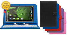 """Premium Leather Finished Keyboard Tablet Flip Cover For IBERRY BT07 7"""" BT-07 7.0"""