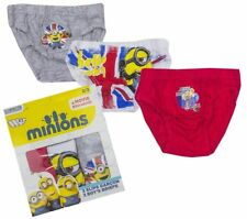 Boys Despicable Me Minions London Pack Of 3 Briefs Knickers 5-8 Years Underwear