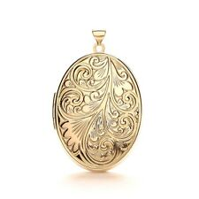 Large 9ct Yellow Gold Family Locket Necklace Oval Pendant 2 Photos