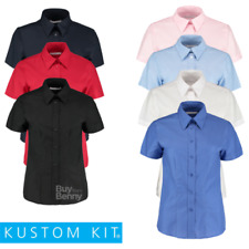 KIT Kustom Manica Corta Camicia di Oxford Workwear Top Elegante Fuso colletto