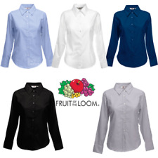 FRUIT OF THE LOOM Camicia Oxford Manica lunga da donna colletto top da lavoro
