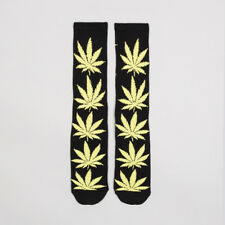 HUF 'Plantlife Crew' Sock. Black/Neon Green.