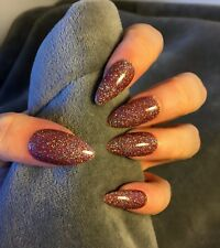 FALSE NAILS - Glamour Mocha Party Glitter - Stick On - The Holy Nail