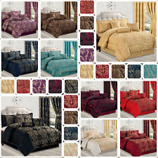 7 Piece Jacquard Bedspread Comforter Set with Matching Eyelet Curtains & Cushion