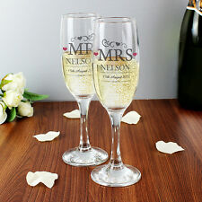 Personalised Mr & Mrs/Mr & Mr/Mrs & Mrs Pair Of Wedding Glass Flutes Boxed