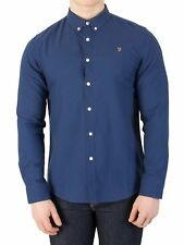 Farah Vintage Men's Brewer Slim Shirt, Blue