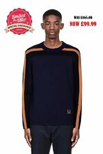 FRED PERRY raf simons Men's knitted stripe crew neck jumper SALE & CHEAP