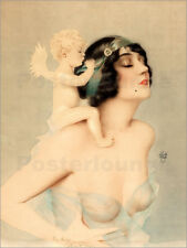 Cuadro sobre lienzo Girl with angel - Alberto Vargas