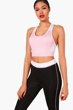 Boohoo Womens Ellie Fit Colour Block Racer Back Sports Bra