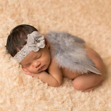 EG_ Infant Baby Girls Flower Lace Headband Feather Angel Wing Photograph Prop We
