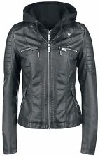 Black Premium by EMP Hooded Faux Leather Jacket Giacca donna nero