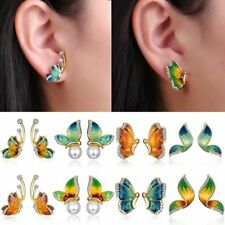 1Pair Women Fashion Crystal Rhinestone Enamel Butterfly Stud Earrings Jewellery