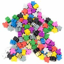 100 Assorted Wooden Meeples Full 16mm Size Board Game Pawn Pieces by Brybelly