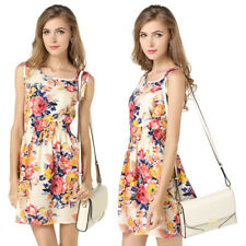EG_ Women's Sexy Chiffon Floral Print Sleeveless Party Fit and Flare Dress Noted