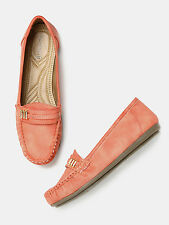 DressBerry Women Coral Pink Solid Loafers-169-K8Q