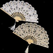 Vintage Chinese Style Lace Folding Hand Held Dance Fan Wedding Costume Party Fan