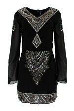 Embellished Beaded Sequin Embroidered Shift Mini Evening Gatsby Dress Lia #3722
