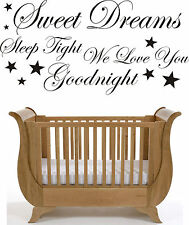 Sweet Dreams  Wall Art Sticker Quote Decal  Nursery Decoration