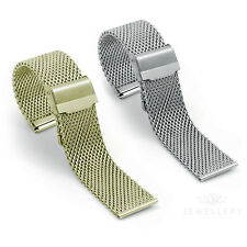 Quality Gold Plated or Steel Milanese Mesh Watch Strap Bracelet Band Open Clasp