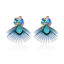 BOHEMIAN ETHNIC STYLE FEATHER EARRINGS 14K GOLD PLATED BIRD CHARM GEMSTONE