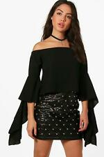 Boohoo Ava Woven Frill Sleeve Off The Shoulder Top per Donna