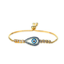 PLATINUM GOLD PLATED EVIL EYE ZIRCON BRACELET ADJUSTABLE UNIQUE JEWELRY FOR
