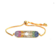GOLD PLATED ZIRCON CUFF BRACELET ADJUSTABLE COLORFUL CHARM CHAIN