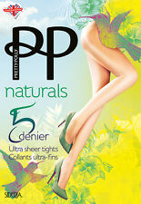 Pretty Polly Naturals Ultra Medias Escarpadas 5 Denier sideria Hilo Transparente