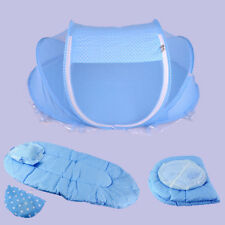 4PCS FOLDABLE INFANT BABY BED CANOPY MOSQUITO NET TENT BEDDING SET COTTONPADDED