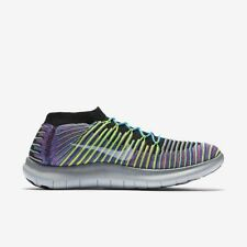 NIKE FREE RN MOTION FLYKNIT Men's Trainers 100% Authentic Black/Racer Blue/Pink