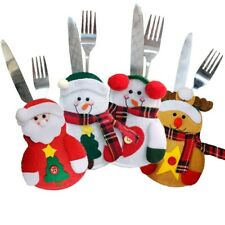 CHRISTMAS PARTY HOME TABLE DECORATION SNOWMAN ELDERLY EK KNIFE FORK BAG COVER