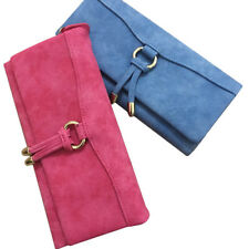 ZIPPER NUBUCK LEATHER LONG WALLET 3 FOLD PURSE CARD HOLDER 55'' PHONE CASE BAGS