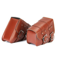 PAIR MOTORCYCLE SADDLE SIDE LEATHER BAGS TOOL POUCH UNIVERSAL FOR HARLEY