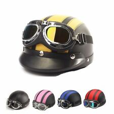 MOTORCYCLE HALF OPEN FACE LEATHER HELMET WITH SUN VISOR GOGGLES