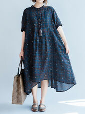 CASUAL LOOSE WOMEN SHORT SLEEVE STAND COLLAR PLAID DRESS