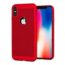 Red Slim Luxury Mesh Heat Dissipation PC Hard Back Case for iPhone 8 8 Plus X