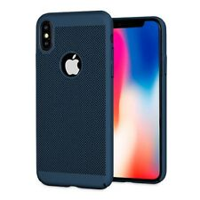 Blue Mesh Heat Dissipation Breathable PC Hard Back Case for iPhone 8 8 Plus X