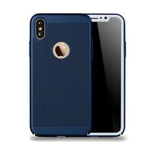 Blue Slim Luxury Mesh Heat Dissipation PC Hard Back Case for iPhone 8 8 Plus X
