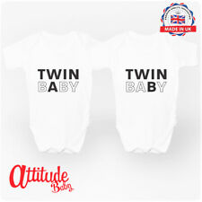 Twin A Twin B - Twin Baby Clothing Baby Grows Twin Pack vests - Attitude Baby