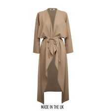 Womens-Ladies-Maxi-Long-Sleeve-Waterfall-Belted-Duster Stone
