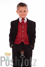 Boys Suits 5 piece Wine & Black Formal Suit Wedding Pageboy Suits 0-3mths-15yrs